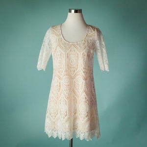 Plenty Tracy Reese 2 Ivory Floral Lace 3/4 Sleeve